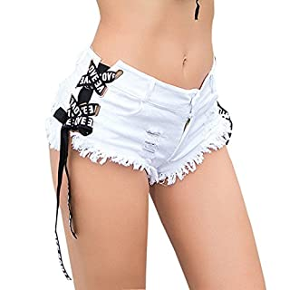 Ai.Moichien Women's Club Party Side Straps Mini Denim Jeans Shorts White M