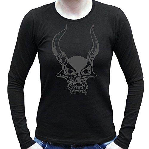 Damen-Mädchen-Girlie-Halloween-Kostüm Langarm Fun T-Shirt coole Geschenk Idee Skull Geister Gespenster Kürbis Outfit Farbe: schwarz Schwarz