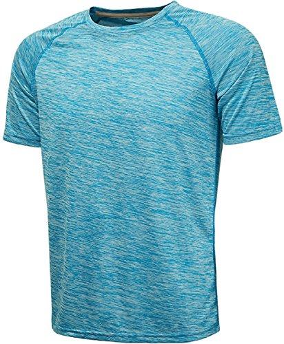 KomPrexx Herren Sport T Shirt Fitness Funktion Training Running Tennis Sportshirt Männer Funktionsshirt Kurzarm (LightBlue,2XL)