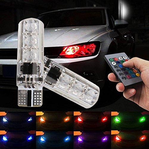 Preisvergleich Produktbild Ansenesna 2 x LED RGB Super Bright multicolor colorful Auto breite Indikator  built-in Side Light Remote Control T10 5050