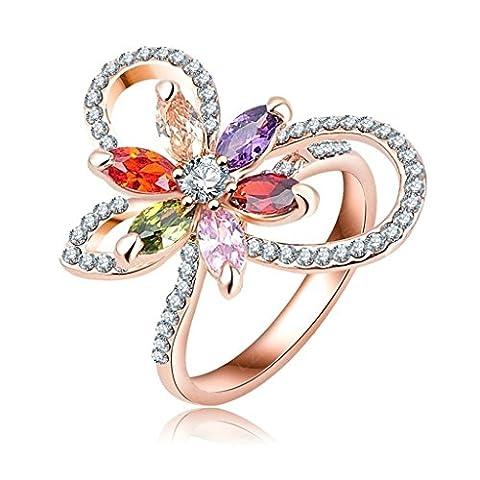 Femme Fille 18K Plaqué Or Bague Engagement Mariage Anneau Alliage Fleur Papillon Taille 56.5 Or Rose - Aooaz