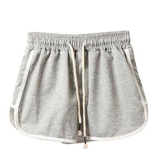 Pantaloncini da donna sportivo hot pants  feixiang ® moda donna estate sport pantaloncini da spiaggia per donna pantaloni corti pantaloni corti sportivi da allenamento per il fitness (grigio, s)