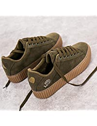 Otoño Invierno Lienzo Adolescentes Zapatos Con cordones Gamuza Piso superior antideslizante Plegable Soles acogedores ( Color : Green , Size : 37 )