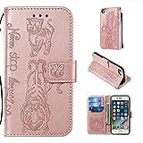 Shinyzone Coque pour iPhone 6/iPhone 6S/iPhone 7/iPhone 8,Housse Étui Portefeuille en Cuir Étui à Rabat Ultra Mince avec Aimanté Support Béquille Bracelet Cartes Fentes Etui,Or Rose