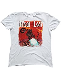 Amplified–Camiseta para hombre blanco Official Meat Loaf Out Of Hell Rock Star Biker Vintage