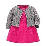 Mädchen Kleid + Mantel Kleidung Set,OverDose Neugeborenen Baby Mädchen Floral Blumen Bluse Kleid + Feste Mantel Outfits Kleidung Set(9 Monate,Grau)