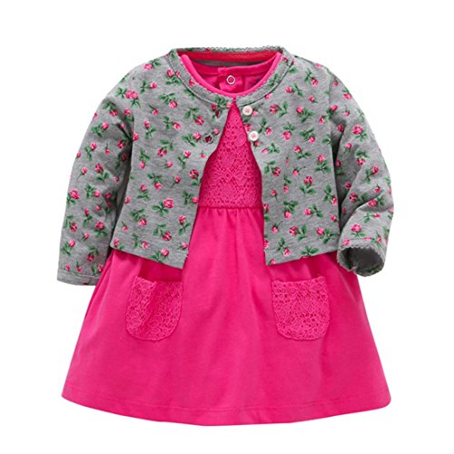 Mädchen Kleid + Mantel Kleidung Set,OverDose Neugeborenen Baby Mädchen Floral Blumen Bluse Kleid + Feste Mantel Outfits Kleidung Set(18 Monate,Grau) (Designer Taufkleider)