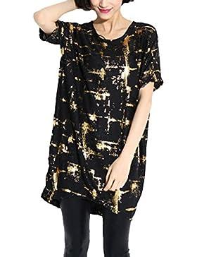 Moda De Verano De Las Mujeres De Manga Corta Cuello Redondo De Impresión Suelta Vestido