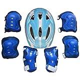 Maissine 7 Pièces Kit de Protection Roller Enfants, Ensemble Protection Sports avec Casque + Genouillères + Coudière + Protège-Poignets pour Enfants 5-11 Ans (Bleu Clair)