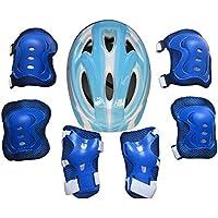 Mecotech Equipo de protección Infantil, 7Unidades. Niños Protección ausr uestung–Juego de Protectores para Patines Patines Skateboard radfahre, Color Azul Claro, tamaño 25 * 19cm