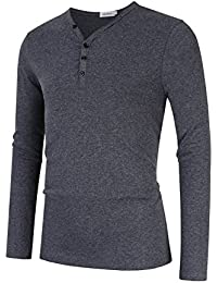 Clearlove Men's V-Neck Button Casual Henley Shirt