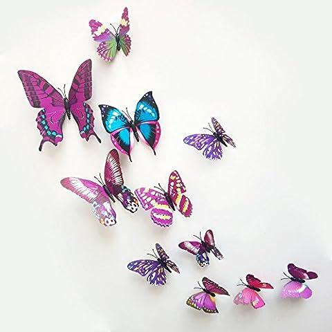 12 piezas 3D Domire mariposas hacer pegatinas pared crfats mariposas, morado, 17.4 x 10.6 x 1.6 cm