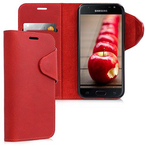 kalibri-Hlle-fr-Samsung-Galaxy-J3-2017-DUOS-Echtleder-Wallet-Case-Schutzhlle-mit-Fach-und-Stnder-in-Dunkelrot