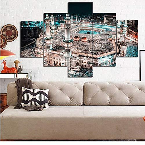 wuyyii Modulare Malerei Leinwand Hohe Quanlity 5 Panel Muslim Gerahmte Moderne Wandkunst Islam Bilder Wohnkultur Für Wohnzimmer Kinderzimmer-30X40Cmx2/30X60Cmx2/30X80Cmx1