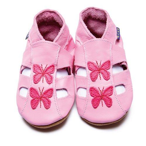 Inch Blue - 1486 S - Chaussures Bébé Souples - Papillon - Sandales - Rose Clair - T 17-18 cm