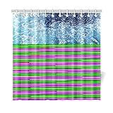 JSXMNA Wohnkultur Bad Vorhang Schäumen Blau Wasser Von Mittelmeer Polyester Stoff Wasserdicht Duschvorhang Für Badezimmer, 72 X 72 Zoll Duschvorhänge Haken Enthalten