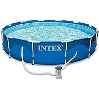 Intexi INTEX Familien Swimmingpool mit Metallrahmen 366 x 84cm Schwimmbecken-Set mit Filterpumpe und Zubehör