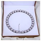 Schmuckwilly Damen Muschelkernperlen Perlenkette aus echter Muschel leicht grau 45cm 14mm mk14mm105-45
