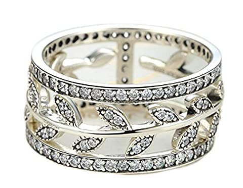 SaySure- 925 Sterling Silver Vivid Tree Leaves DIY (SIZE : 7)