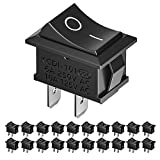 MUSCCCM 20pcs On/Off Rocker Switch, Mini Boat Switch 10A/125V, 6A/250V SPST Press Button Toggle Switch for Car Auto Boat Household Appliances, Black