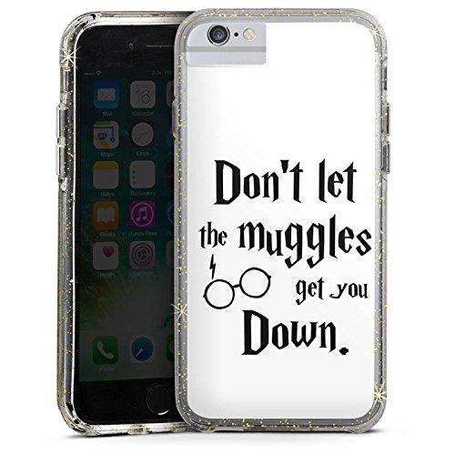 Apple iPhone 8 Bumper Hülle Bumper Case Glitzer Hülle Muggles Statement Harry Potter Bumper Case Glitzer gold