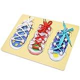 VWH Hölzerne Threading-Schuh zu Tie Shoelaces Lernen, Baby-frühe Lernspielzeug , Lernaktivität Educational Preschool für Kinder und Kinder