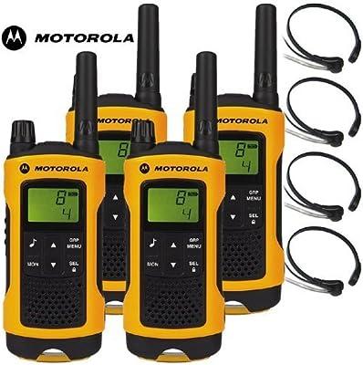 10km Motorola TLKR T80Extreme dos manera Radio Walkie Talkie Travel Pack con 4x Comtechlogic CM-215TH PTT/VOX micrófono de garganta para esquí & Go Karting-Quad