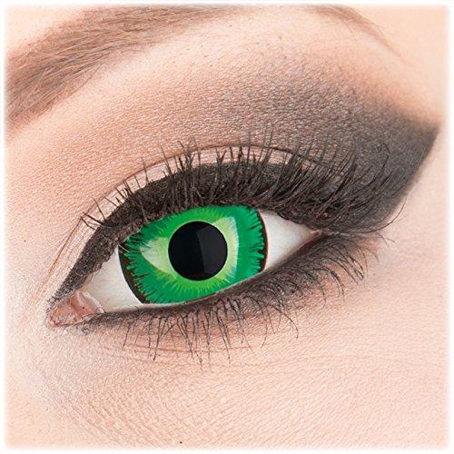 Farbige grüne Crazy Fun Mini Sclera 17 mm Kontaktlinsen 1 Paar 'Shining' mit Behälter - Topqualität von 'Evil Lens' zu Fasching Karneval Halloween ohne Stärke