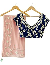 Pk Fashion Bazar Women's Georgette Embroidery Designer Saree (PkFashion_ER106120_Peach_With Blouse Piece)