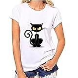OVERDOSE T Shirt Frauen Mädchen Plus Größe beiläufiges Nette Katze Gedrucktes T Stück Hemd Kurzschluss Hülsen Baumwollblusen Oberseiten Sommer Tops Bluse (S, A)
