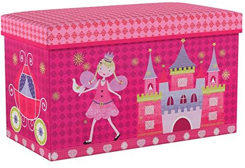 Relaxdays Sitzbox Kinder, Faltbare Aufbewahrungsbox mit Stauraum, Deckel, Prinzessin & Fee, 50 Liter, platzsparend, pink