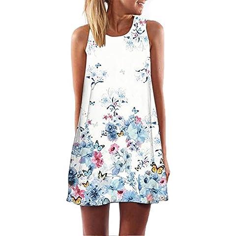 Ularma Mini vestido, estilo Vintage, vestido de verano sin mangas impreso corto