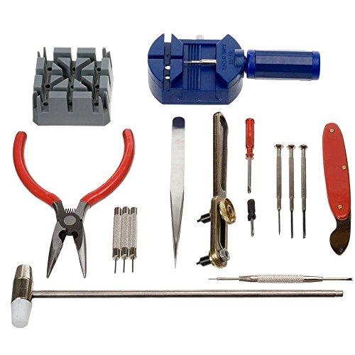 MMOBIEL Kit Profesional de reparación de joyería para Reloj con 16 Pzas Incl removedor de Perno de unión de Correa (Extensible), Llave para Abrir la Cubierta Trasera para Todo Tipo de Relojes