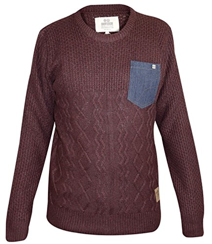 Mens Crosshatch Cable-Knit Jumper Crew Neck Long Sleeves Pullover Winter Top Andorra