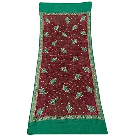 Longue de perles dupatta main Vintage Maroon Indian écharpe Georgette Tissu utilisé Veil