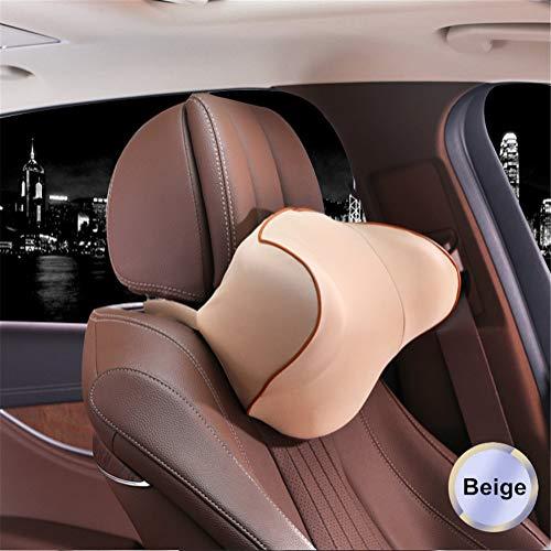 YSCCSY 3D Car Memory Foam Head Kissen Kopfstütze Neck Shoulder Two Side Protect Slow Rebound Soft Car Auto Cushion,28 * 27 * 15 cm,Beige
