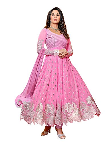 Sky Global Women's Pink Georgette Anarkali Unstitched Salwar Suit Dress Material (Dress_167_FreeSize_Pink)