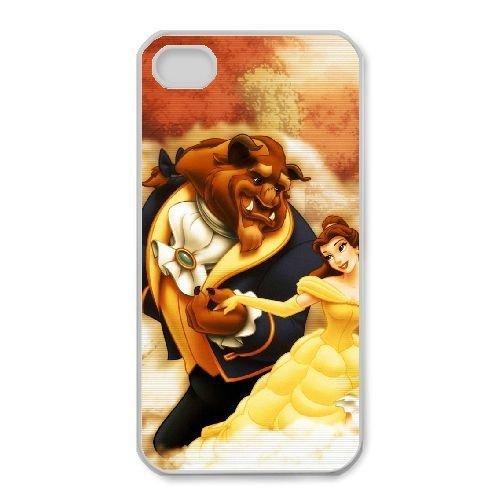 iphone4 4s White phone case Disney Cartoon Comic Series Beauty and the Beast QBC3083793