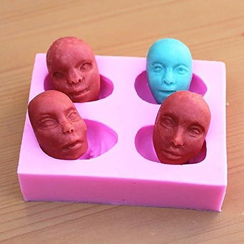 Bluelover Hommes Du Visage Fandant Moule En Silicone Moule Chocolat Argile Polymère