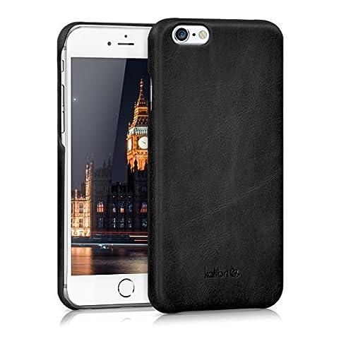 kalibri Coque arrière en cuir véritable pour Apple iPhone 6 / 6S - étui en cuir cover housse de protection en noir