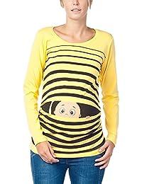 Vêtement de Maternité Humoristique T-Shirt Mignon à Motifs Cadeau pour Grossesse Femme Humour Tee Haut Vetement de Maternite – à Manches Longues