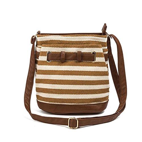 3bff0eab1a Stripe Canvas Tote Borse donna versatile spalla borsa borse postino  pacchetto by Kangrunmy Giallo