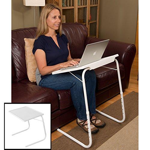 Evelots® regolabile pieghevole di TV cena tavoli, lettura/scrittura/Art, Plastica/metallo, White, Measures 20
