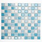 Mosaikfliesen Fliesen Mosaik Küche Bad WC Wohnbereich Fliesenspiegel Keramik Quadrat blau weiß Mix 6mm Neu #K150