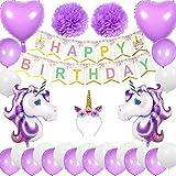 Cebelle Einhorn Birthday Party Supplies Dekorationen lila,Stirnband,Alles Gute zum Geburtstag Banner,2 riesige Einhorn 2 Herz Ballons 2 Pom Pom Blumen 20 Latex Ballons,Geschenk für Mädchen Frauen