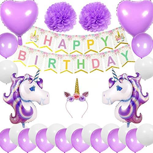 Cebelle Compleanno Unicorno Decorazioni Bomboniere Viola, Corno di Unicorno, Banner Happy Birthday 2 enormi Unicorno 2 Palloncini Cuore 2 Fiori Pom Pom 20 Palloncini Regalo per Le Ragazze Donne