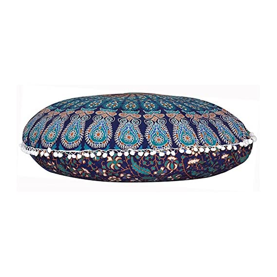 Tapestry Lovers Blue Mandala Tapestry Soft Cozy Handmade Large Floor Cushion Cover Without Filler 32 Inches