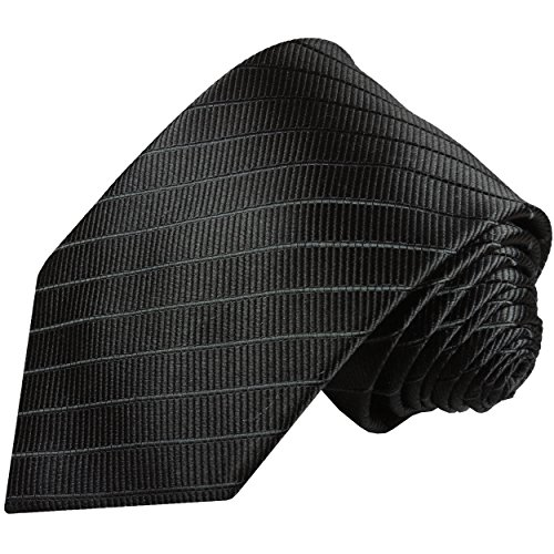 Cravate homme noire uni rayée 100% soie