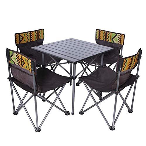 ZIHENGUO Outdoor Klappstuhl und Tisch, kompakte Stühle für Camping, Reisen, Strand, Picknick, Wandern, Angeln,5pieceset,Aset
