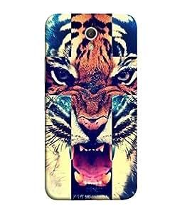 PrintVisa Designer Back Case Cover for Lenovo ZUK Z1 (Lion Tiger King Raja Animal Teeth Fear Twin Mirrorimage)